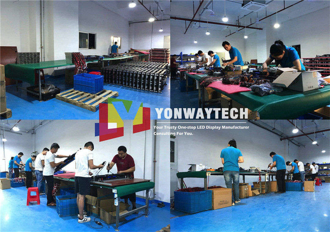 Corner of led display assembly workshop, LED module after aging test in RGBW loop playing 24 hours integrated to led screen with